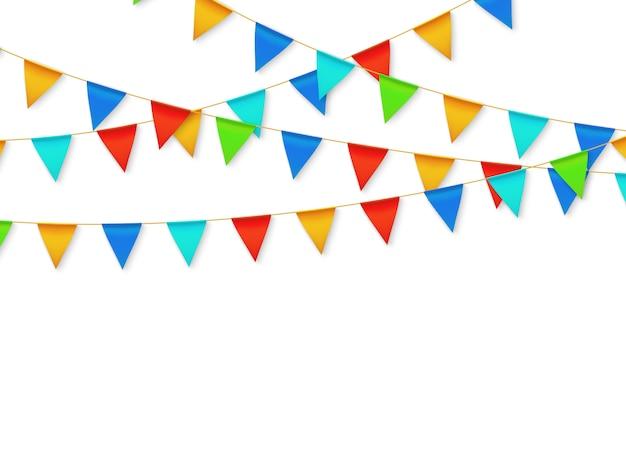 ペナントフラグガーランド。誕生日パーティーのフィエスタカーニバルの装飾。カラーフラグ3 dベクトルイラストと花輪
