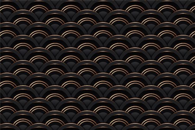 3 dボリュームゴールデンメッシュテクスチャと抽象的な幾何学的なシームレスパターンタイル背景。金属線、高級黄金幾何学背景黒デザインテンプレートのベクトル最小黒パターン