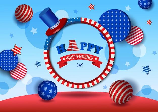 アメリカの独立記念日のイラスト3 dスタイル。サークルフレームとフラグのパターンのデザイン
