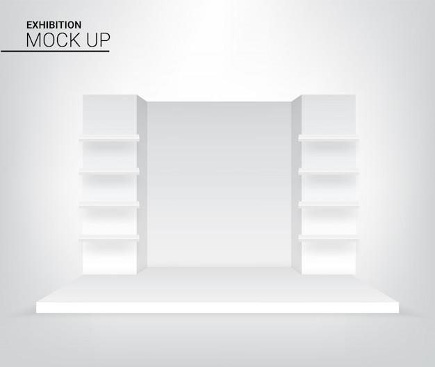 広告、コンサートまたはプレゼンテーションのイラストの3 dグラフィックの現実的なステージ表彰台。イベントおよび展示会のコンセプトデザイン