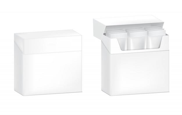 紙箱、分離された3 dの光沢のあるスティックサシェ。ベクトルイラスト。食品および飲料包装コンセプトデザイン。