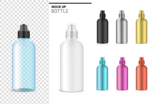 ボトル3 dモックアップ現実的な透明なプラスチックシェーカーのベクトルで水と飲み物。自転車とスポーツのコンセプトデザイン。