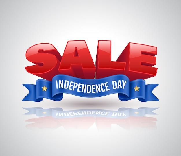独立記念日セールのプロモーションのための青いリボンと販売3 dテキスト