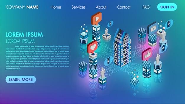 ランダンのページ。モックサイトソーシャルメディアネットワーク平らな3 dアイソメトリック概念ベクトルのアイコンの技術と接続