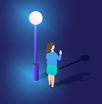 紫外線ネオン街路灯等尺性3 dイラスト