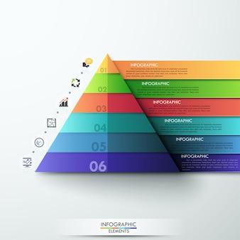 3 dモダンなインフォグラフィックオプションピラミッドテンプレート