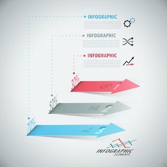 リアルな矢印の付いた3 dモダンなインフォグラフィックオプションのバナー