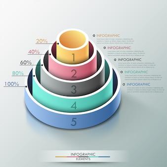 3 dピラミッドとモダンなインフォグラフィックオプションのバナー