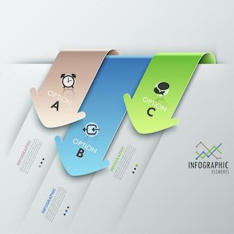 3 dモダンなインフォグラフィックオプションのバナー