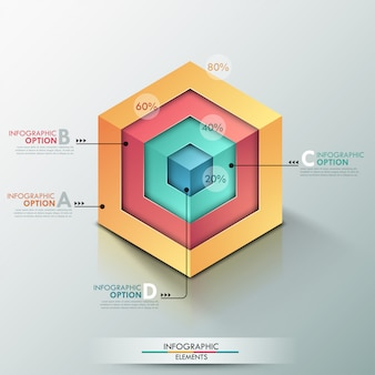 リアルなキューブと3 dのモダンなインフォグラフィックオプションのバナー