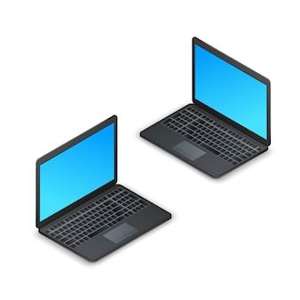 黒のリアルな等尺性ノートパソコン、白い背景で隔離された空白の画面。 3 dコンピューターのラップトップ