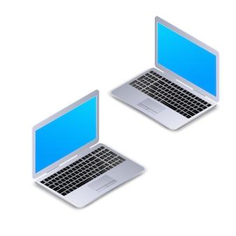 等尺性のノートパソコン、白い背景で隔離された空白の画面。リアルな3 dコンピューターのラップトップモックアップ