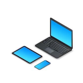 等尺性ガジェットのセットです。 3 dノートパソコン、タブレット、スマートフォン、白で隔離される空白の画面