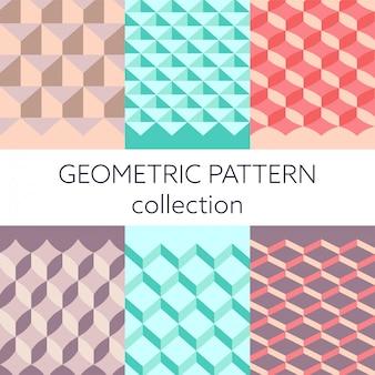 幾何学的な3 dのシームレスパターンコレクションベクトル