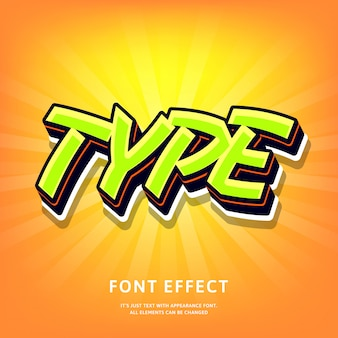 オレンジ色のモダンな3 dタイプのレタリングテキスト効果グラフィティポップスタイルグリーン