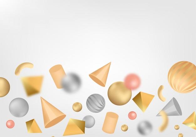 3 d形状と抽象的な背景。