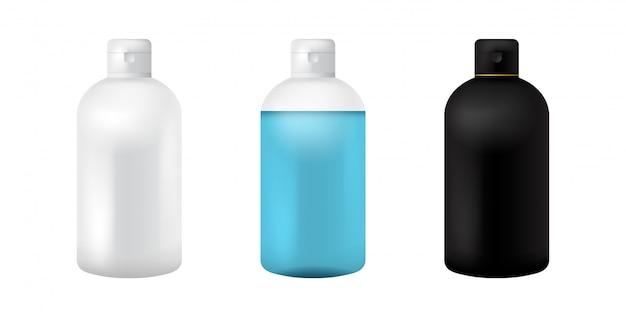 プラスチック製の化粧品ボトル。スープ、シャンプー、ゲル、スプレー、ボディローション、シャンプーの分離された黒、白、透明なモックアップ。 3 dの現実的なコンテナーテンプレート。明確な医療包装モックアップセット。