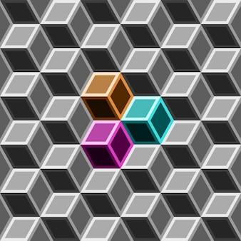 グレートーンの3 dボックスシームレスパターン。