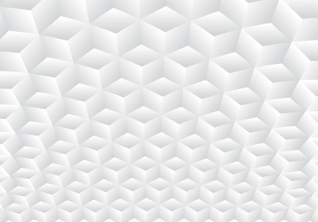 3 dの現実的な幾何学的な白とグレーのキューブパターン