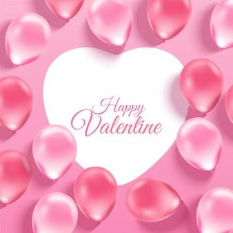ピンクの背景に3 dのリアルな風船とピンクのバレンタインデーの背景