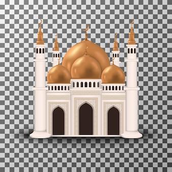 モスク建物の透明な背景イラストで分離された現実的な3 dデザイン。