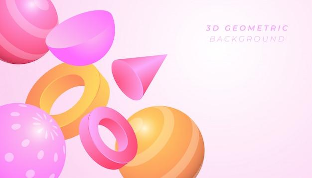 パステルカラーのグラデーションカラーで3 dの幾何学的図形の背景