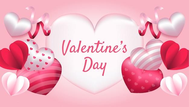 バレンタインデー、3 dハート、紙の愛、ピンクと白の色のリボン、招待状、挨拶、お祝いカードイラストに適用