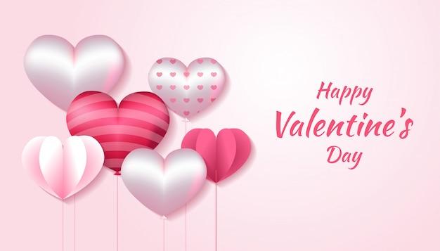3 dハート形のバレンタインデー、ピンクと白の色で紙の愛、招待状、挨拶、お祝いカードイラストに適用