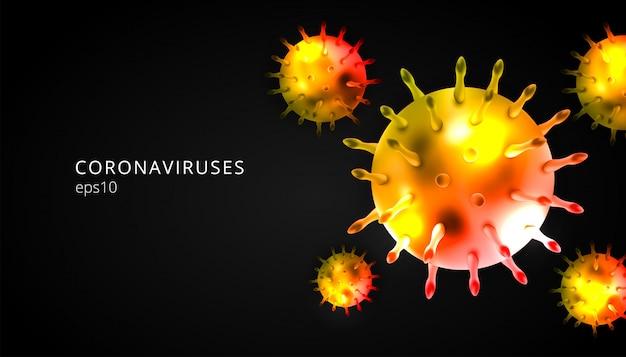 コロナウイルス黒の背景で3 dの現実的なベクトル。コロナウイルス細胞、武漢ウイルス病。