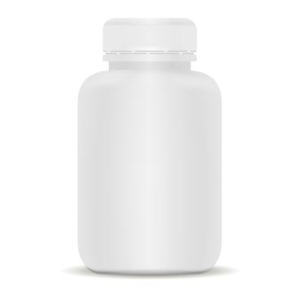 プラスチック製の薬瓶。白の3 dベクトルイラスト。
