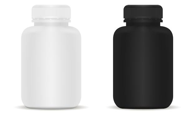 医療ボトルセット。黒と白の3 dイラスト。