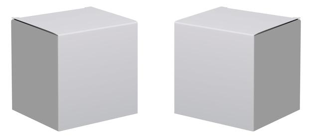 ボックスのモックアップ。 3 dホワイトパッケージ。カートン段ボールセット