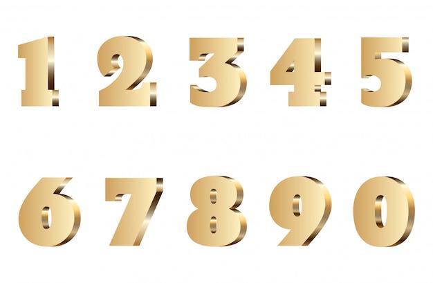 3 dゴールド番号セット。孤立した黄金の金属フォント