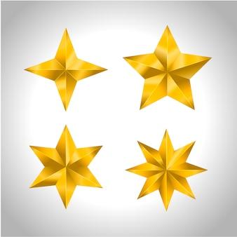 星のリアルなメタリックゴールデン分離黄色3 dクリスマス