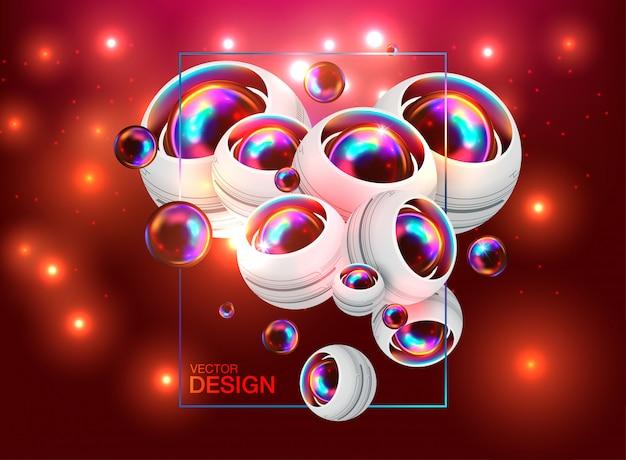 動的3 d球と抽象的な背景