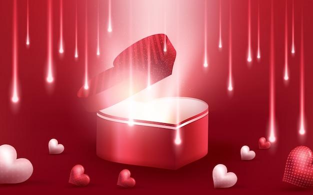 甘い幸せなバレンタインデーと3 dの現実的な赤いハートの背景