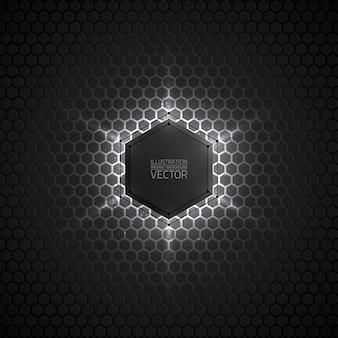 抽象的な3 dベクトル六角形の暗い灰色の背景