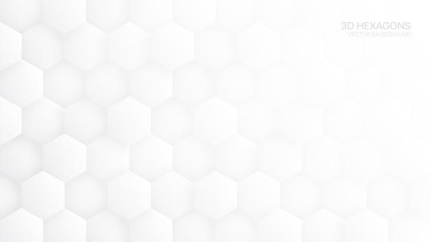 白の抽象的な背景の3 d六角形パターン