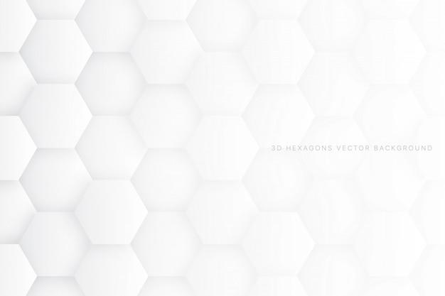 3 d六角形白の抽象的な背景
