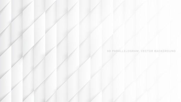 白の抽象的な背景の3 d平行四辺形パターン