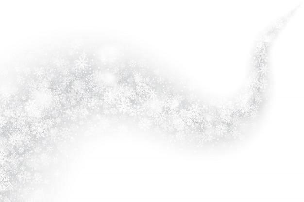 白い背景の3 d渦巻く雪の効果
