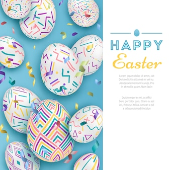 文字と青の3 dの華やかな卵のイースターの背景。かわいいベクトルイースターバナーやグリーティングカード
