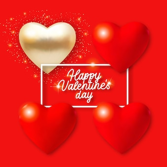 3 dの赤と金色の心、ライト、テキストとバレンタインデーの背景。赤い背景のホリデーカードイラスト。