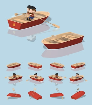 赤の3 d低ポリアイソメトリックパントボート