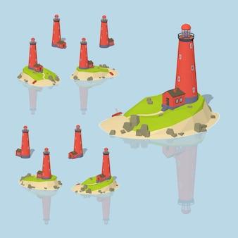 赤3 d低ポリ等尺性灯台