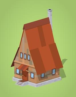 フレーム木造住宅。 3 d低ポリアイソメトリックベクトル図