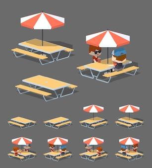 太陽の傘のカフェのテーブル。 3 d低ポリアイソメトリックベクトル図