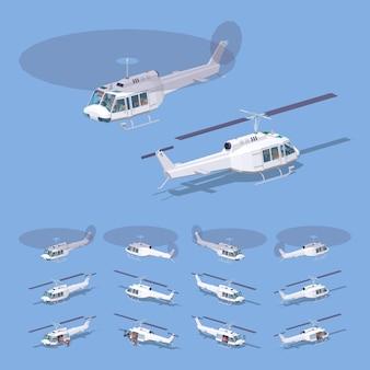 白の3 d低ポリアイソメトリックヘリコプター