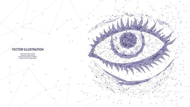 人間の目をクローズアップ。モデル臓器の解剖学。アイリス、まつげ。視力矯正、治療、手術のコンセプトです。革新的な医学と技術。 3 d低ポリワイヤーフレームの図。