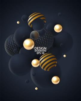 3 d球クラスターと抽象的な背景。